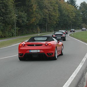 Ferrari. Well, not so much slithered up to, as whizzed past by!