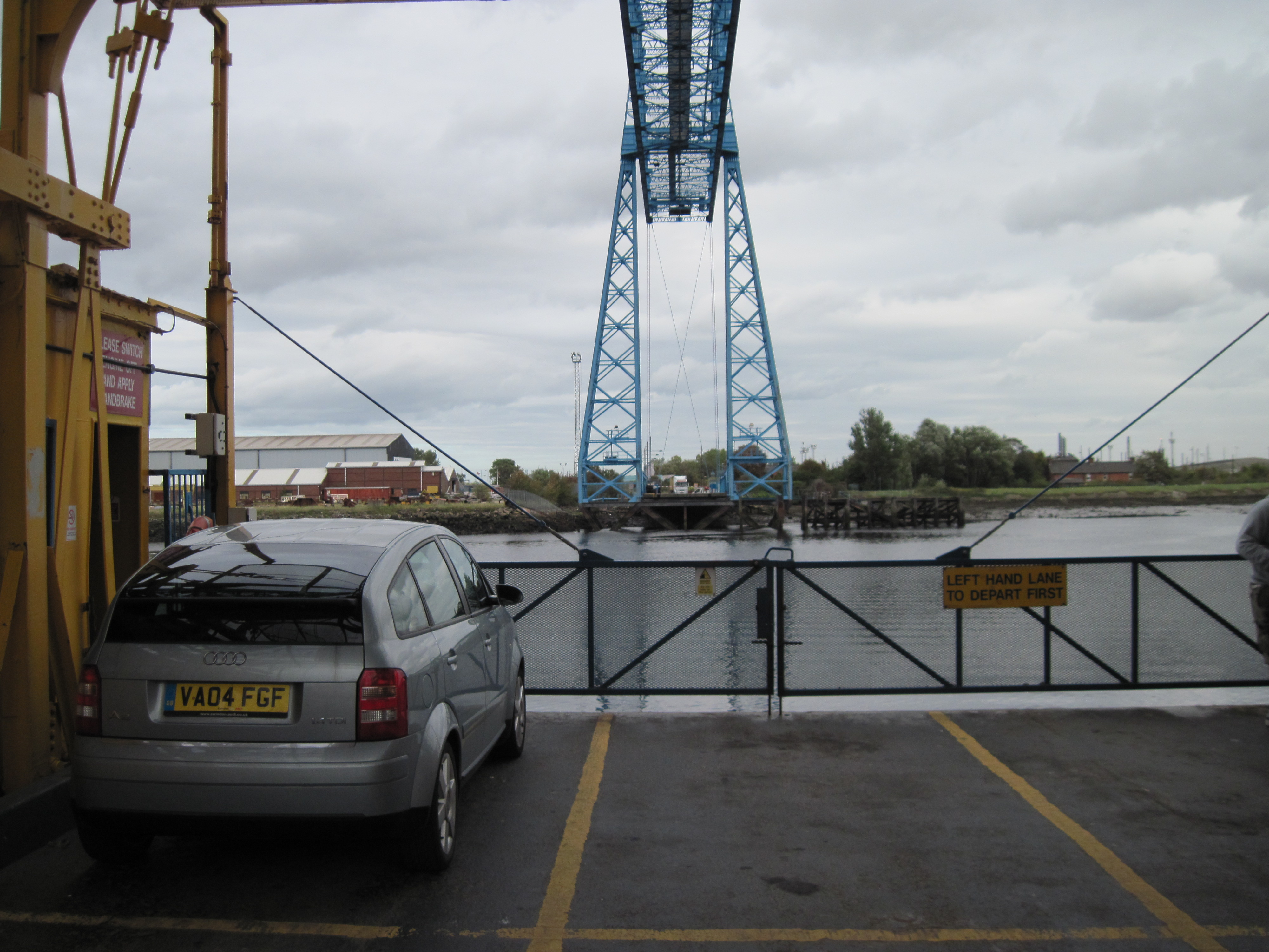 Middlesborough Transport Bridge, Audi A2 on gondola.jpg